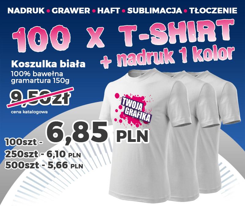 Koszulka T-shirt z nadrukiem tylko 6,85zł/szt