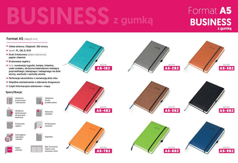Kalendarzez business gumką A5