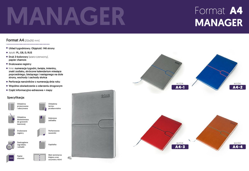 Kalendarze manager A4