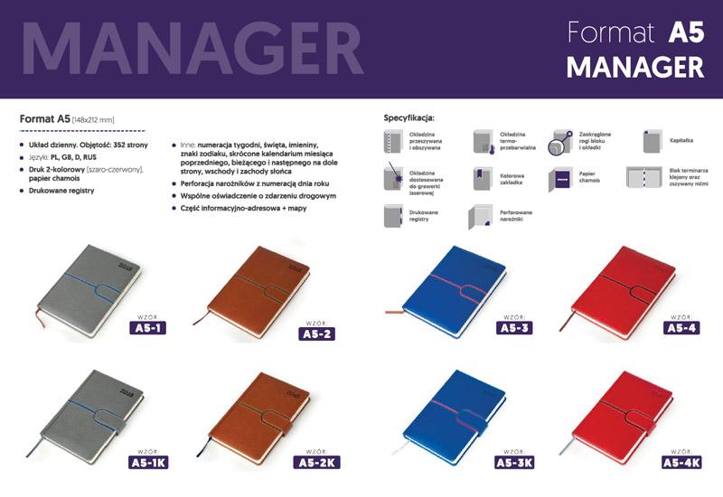 Kalendarze manager A5