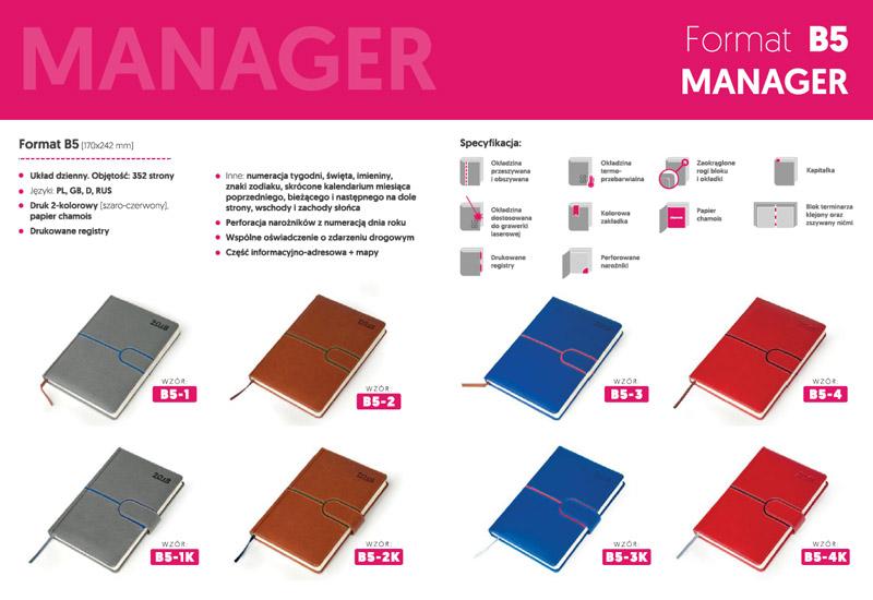 Kalendarze manager B5